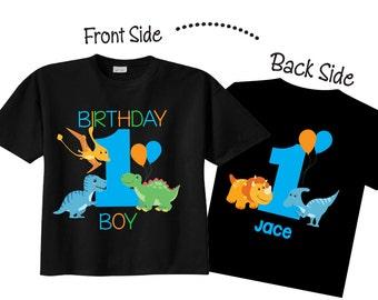 My 1st Birthday Shirts And Tshirts With Dinosaur Theme On BLACK