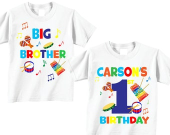2 Shirt Set For First Birthday Shirts And Tshirts With Music Big Brother Of The Boy Tees