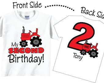 2nd Birthday Shirts With Red Tractor For Boys Tees