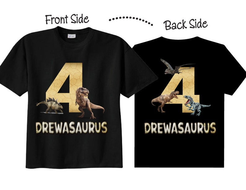 4th Birthday Shirts For Boys With Dinosaurs Tees On BLACK