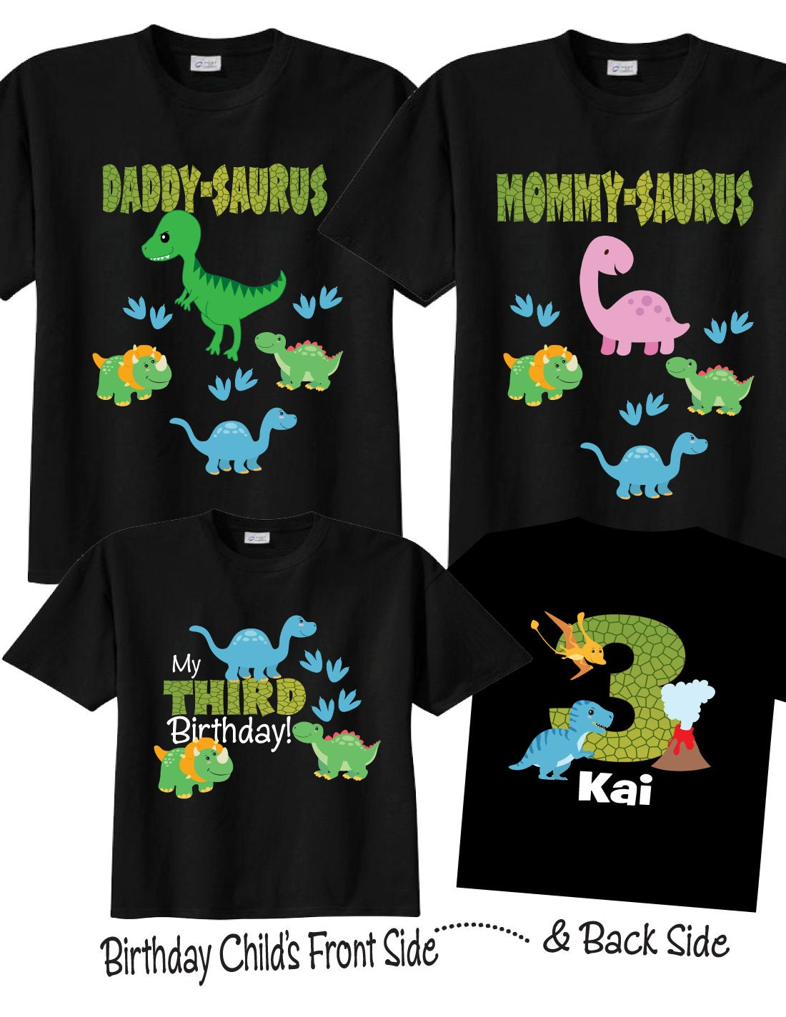 5b4ad82c 3 shirt set 3rd Birthday Shirts with Dinosaurs Family Birthday | Etsy