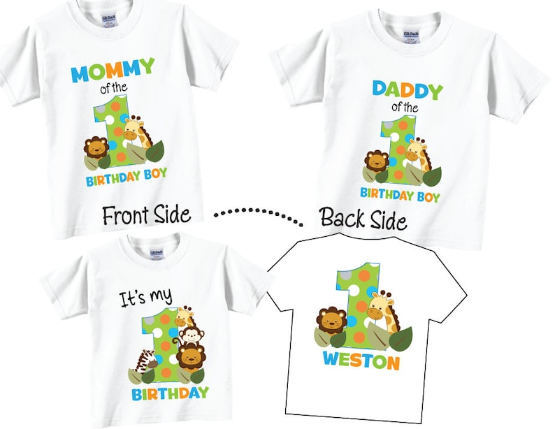 b70ea0cb29aa 3 shirt set Birthday Shirts for Mom and Dad and Birthday Twins Family  Birthday Set with Jungle