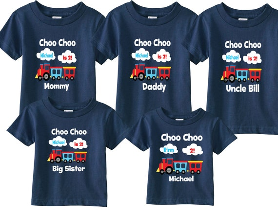 5 shirt set Choo Choo 2nd Family Birthday Shirts and Family Tshirts for Mom, Dad, Sibling, Grandparents and Birthday Child