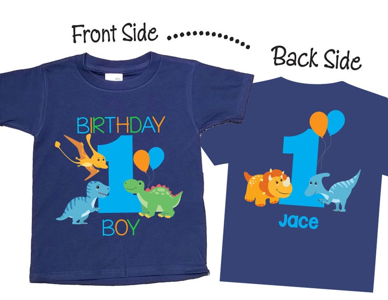 My 1st Birthday Shirts And Tshirts With Dinosaur Theme On NAVY
