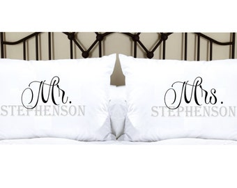 Personalized Pillowcases with Mr. and Mrs. and Last Name