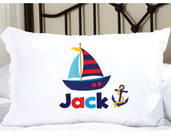 Personalized Pillow Case with Sailboat