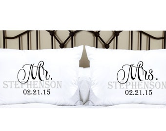 Personalized Pillowcases with Mr. and Mrs. and Last Name and Date