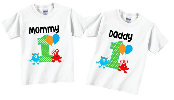 2 Shirt Set 1st Birthday Shirts For Mom And Dad Monster Family