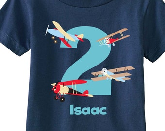 Vintage Airplane Birthday Boy Shirts and Tshirts for First Birthday, Second Birthday, Any Birthday Tees on NAVY