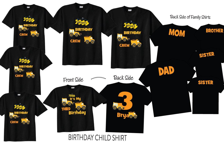 8 chemises imprimés avant arrière et arrière avant - famille anniversaire chemises avec le thème de la Construction sur une chemise noire pour troisième anniversaire, anniversaire équipage chemises cd88ca