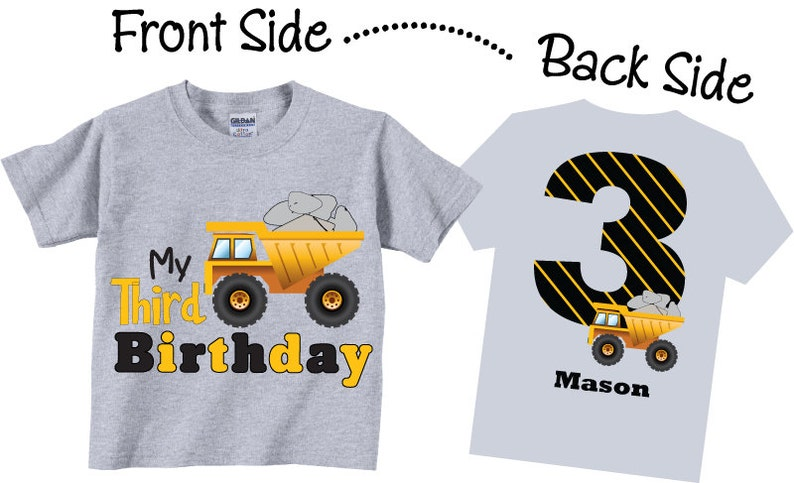 3rd Birthday Shirts with Dump Truck for Boys Tees image 0