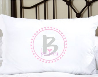 Personalized Pillow with Cute Girls Name Gray and Pink