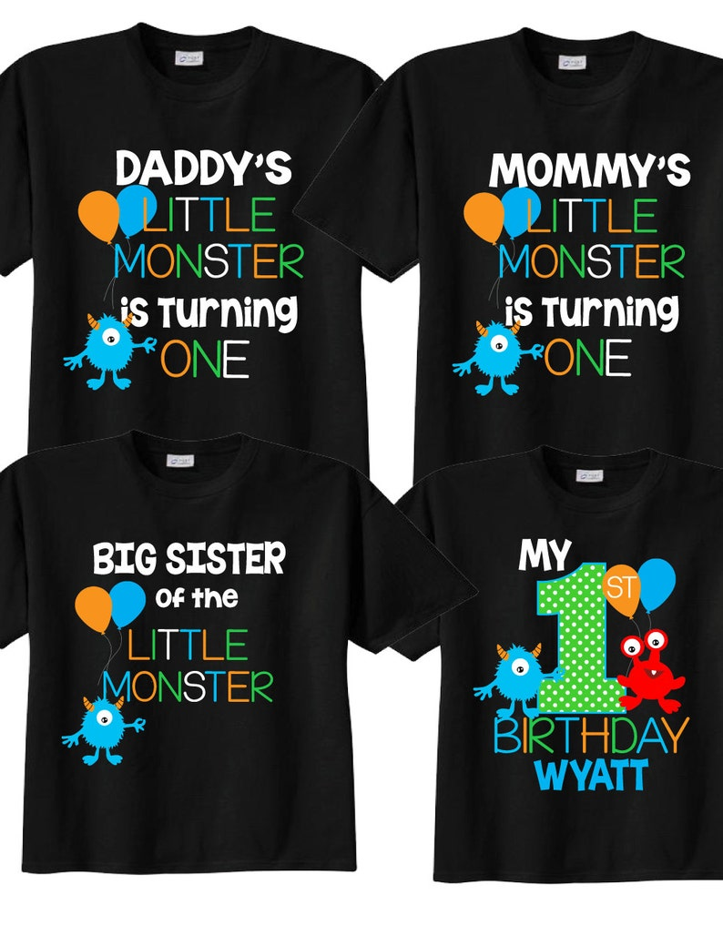 10fb6fb6 4 shirt set for 1st Birthday Shirts withMonster Family | Etsy