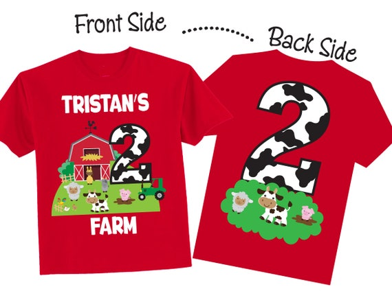 2nd Birthday Shirts With Farmyard Family Farm On RED