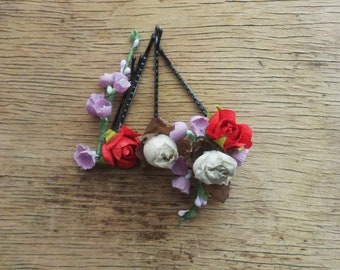 Mix of Floral Hair Accents Spring Symphony Bobby Pins Flower Hair Accessories Flower Girl Flower Hair Pins