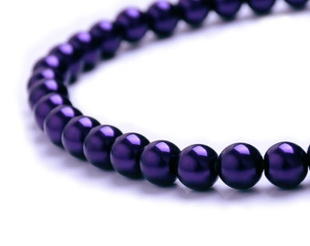 Pressed Round Druk Opaque Violet 10 Faux pearl Bright Purple Czech Glass Pearl Beads 12mm