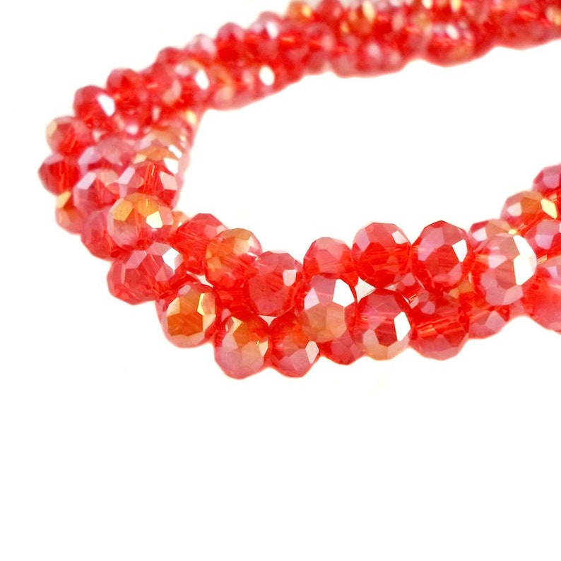 150 x 4mm Dark Salmon Crystal Glass Faceted Beads Rondelle