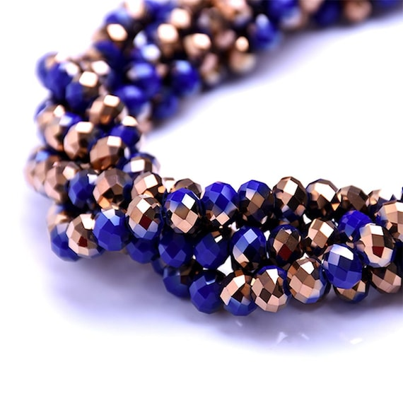 Glass Rondelle Faceted Cobalt Blue Copper Multicolored Beads 4mm 6mm 8mm 10mm