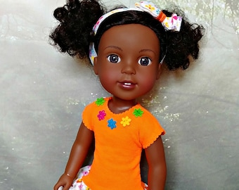 "Doll Dress in Orange with Flowers -- American Made to Fit Your 14"" Girl"