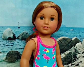 "Doll Bathing Suit SwimSuit with Flamingo Print -- American Made to Fit Your 18"" Girl Doll"