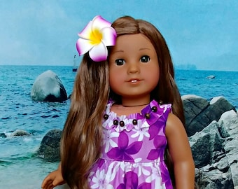 "Hawaiian Doll Tropical  Sundress Set with Purple Plumeria Print -- Dress and Flower Clip -- American Made for Your 18"" Girl Doll"