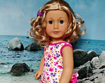 "Doll Bathing Suit, Swimsuit in Pink and White  -- American Made for Your 18"" Girl Doll"
