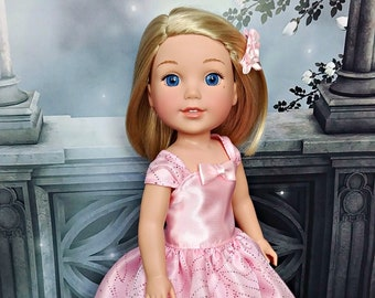 "Doll Pink Ball Gown, Dress, Shoes, Hair Clip -- American Made for Your 14"" Wellie Girl Doll"
