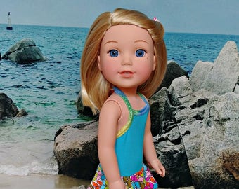 "Doll 70's Bathing Suit Swimsuit in Blue-- American Made to Fit Your 14"" Girl Doll"