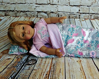 "Doll Unicorn Sleeping Bag and Pillow Set --  American Made to Fit Your 18"" Girl"