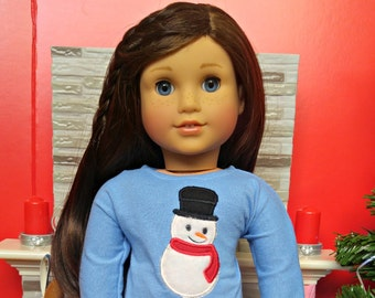 "Doll Snowman Winter PJs American Made to Fit Your 18"" Girl Doll"