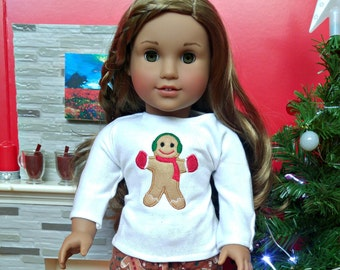 "Doll Christmas PJs Pajamas in Gingerbread Design -- American Made to Fit Your 18"" Girl Doll"