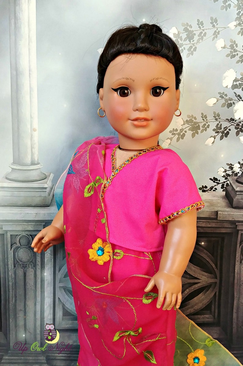 1609992bff7 Doll Sari Indian Outfit or Bollywood Costume in Pink -- Made from Imported  Sari -- American Made for Your 18