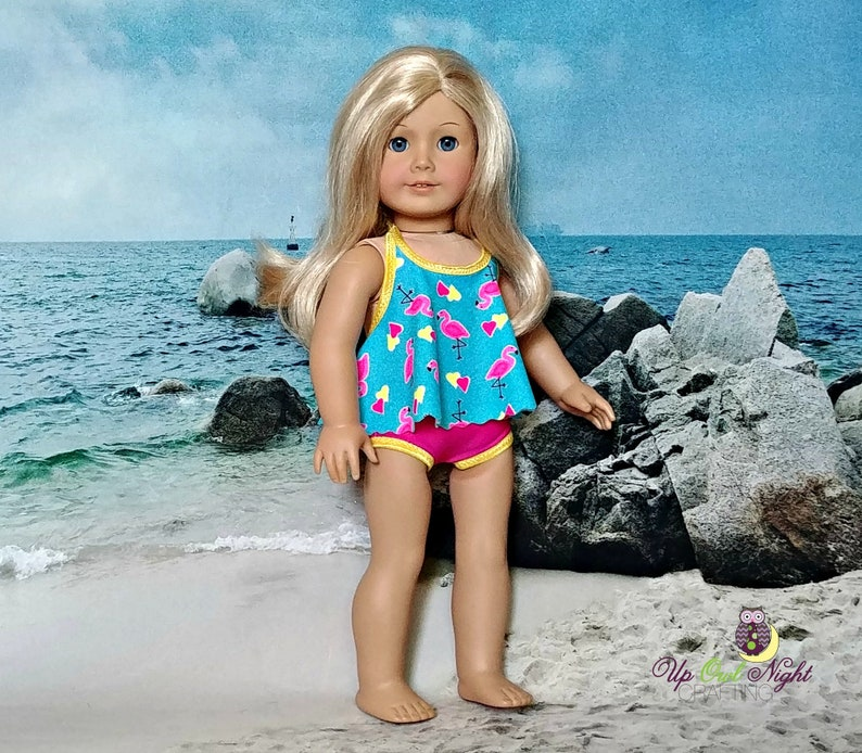 Aqua Floral  Print One Piece Bathing Suit Fits 18 inch American Girl Dolls
