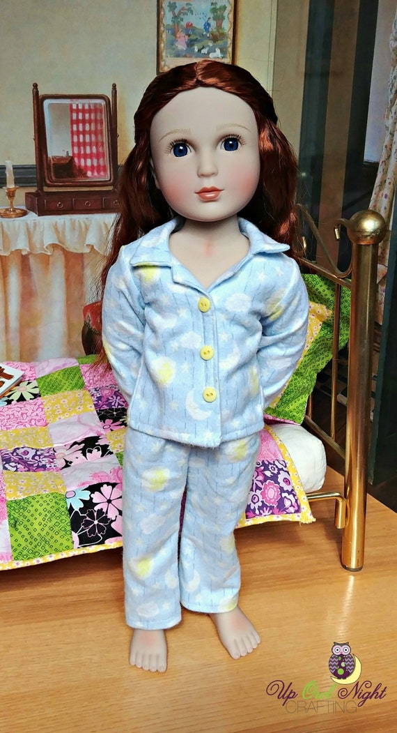 1bd74055d6 Doll Flannel Pajamas PJS Moon Pattern fits A Girl For