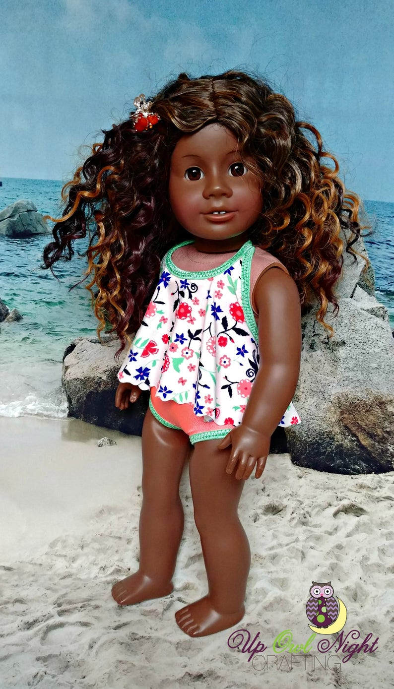 d86ee6cff Doll Bathing Suit Swimsuit with Swirling Flowers fits American | Etsy