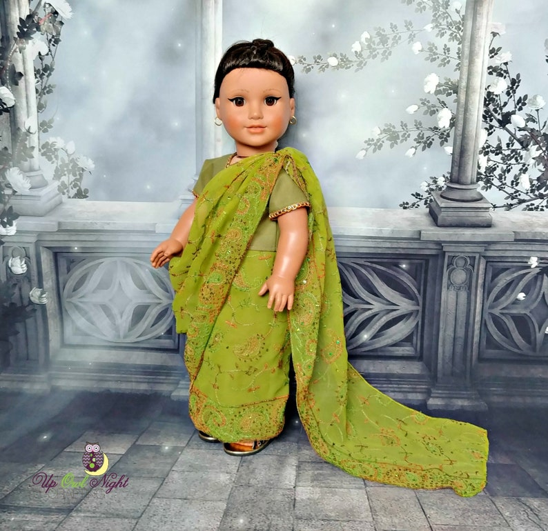 511dca9f542 Doll Sari Indian Outfit or Bollywood Costume in Green -- American Made for  Your 18