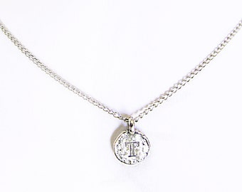 """Meaningful personalized T sterling silver girlfriend necklace gift, personalized girlfriend gift, """"T"""" coin necklace, T letter charm necklace"""