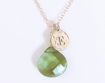 Personalized birthstone jewelry, green E letter necklace, initial E letter necklace / clear green stone, gold E coin pendant choker necklace