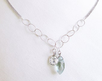 Personalized gifts for grandma, sterling silver T necklace with something blue stone, unique T initial retirement mothers day necklace gift