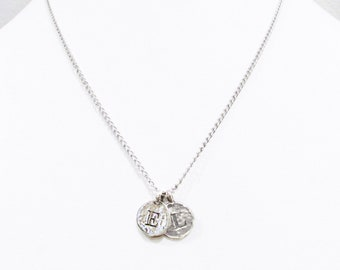 Silver 2 sterling silver engraved letters coin charm necklace, E  L initial letters necklace, 2 engraved coins mother daughter necklace gift