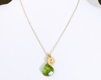 """Personalized green gold letter z pendant necklace with glass stone charm, gold letter initial coin Z necklace, gold """"z"""" letter jewelry gift"""