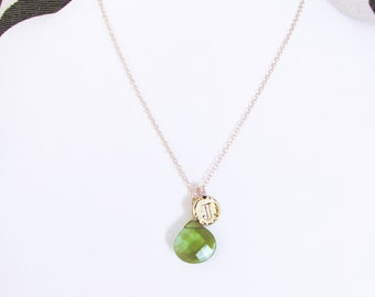 Personalized birthstone jewelry, green J letter necklace, initial J letter necklace / clear green stone, gold J coin pendant choker necklace