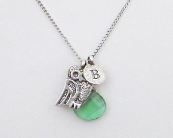 Something green personalized necklaces sterling silver for mom, unique sterling silver K letter coin necklace with owl bird mom jewelry gift