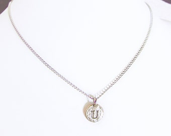 """U personalized initial necklace, """"U"""" letter coin pendant necklace, sterling silver U charm birthday chokers, best """"U"""" initial jewelry gifts"""