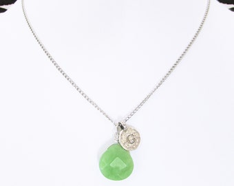 G silver green letter pendant necklace, sterling silver G initial jade birthstone necklaces, unique personalized letter G jade stone jewelry