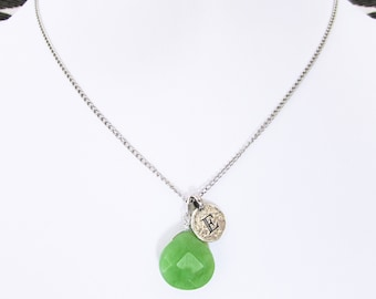 Personalized Initial graduation necklace gift for her, sterling silver E necklace with summer green jade stone pendant gift for best friend