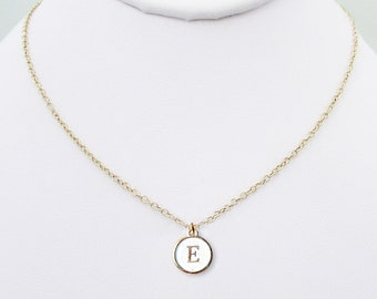 """E personalized initial necklace, gold """"E"""" letter coin necklace, gold white typewriter charm birthday chokers, best E initial jewelry gifts"""