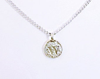 """W personalized necklaces for girlfriend, W initial coin choker for edgy best friend, silver monogram charm choker, """"W"""" letter jewelry gift"""