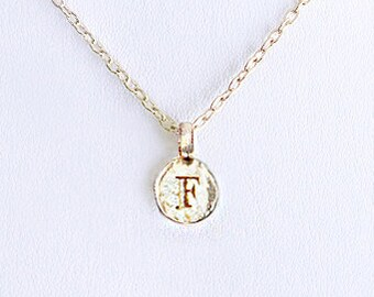 F gold initial necklace, F letter coin necklace, gold F coin jewelry gift, hammered letter coin jewelry, gold F pendant necklaces for women