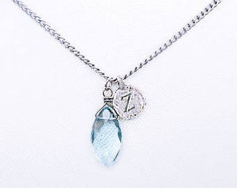 Personalized sterling silver z letter necklace with dainty clear blue stone, delicate letter z silver blue stone necklace, silver z jewelry